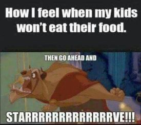 Mom stressing kids dinner meme